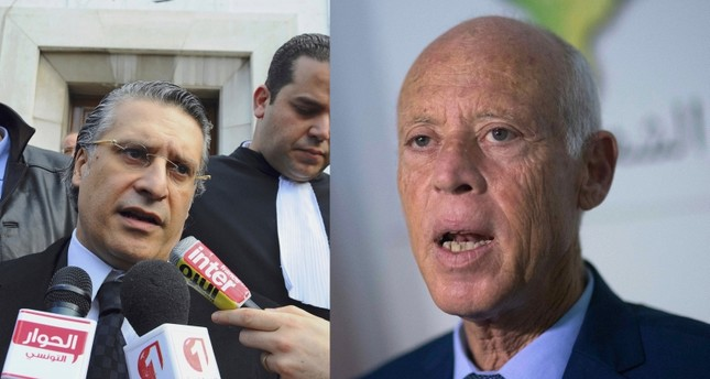 This combination photo shows Nabil Karoui speaking to press after his trial in Tunis, Jan. 23, 2012, left, and Kais Saied speaking to the media in Tunis, Sept. 17, 2019. (AP Photo)