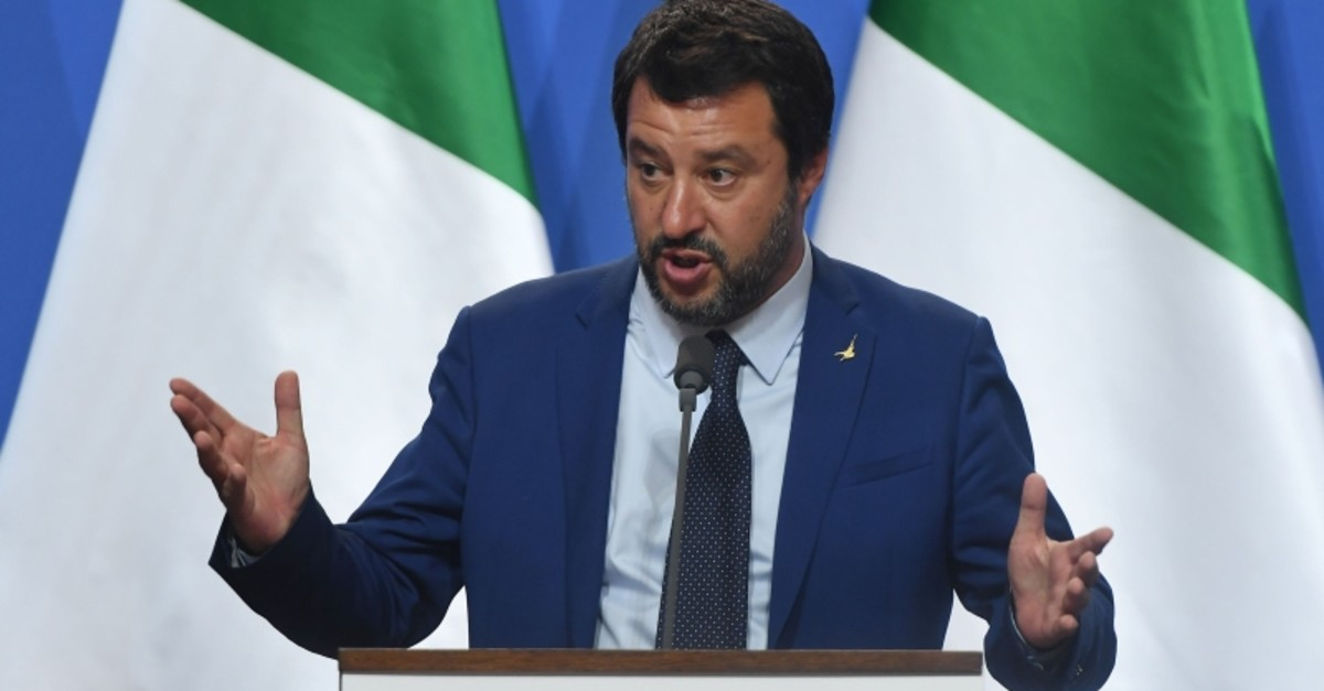 Italian Deputy Premier and Interior Minister Matteo Salvini addresses a joint press conference in the Carmelite monastery of the prime minister's office in Budapest on May 2, 2019. (AFP Photo)