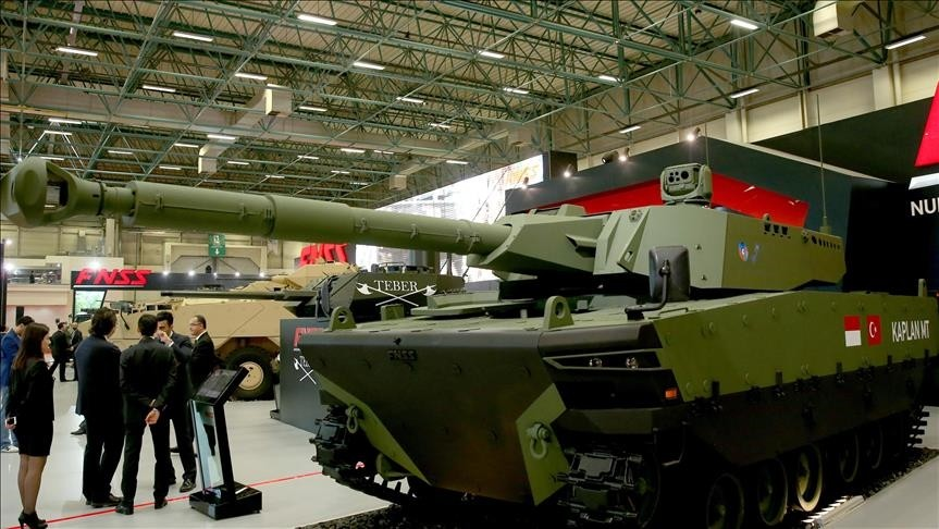 KAPLAN MT Modern Medium Weight Tank developed by FNSS and Indonesian company PT Pindad is showcased during the 13th International Defense Industry Fair (IDEF'17) in Istanbul, Turkey on May 09, 2017. (AA Photo)