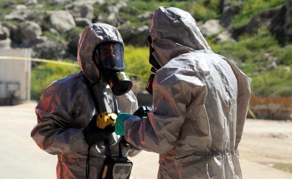 Syrian opposition activists, rescue workers and medics claimed that regime aircrafts dropped bombs with toxic chemicals on April 7 that killed dozens in Douma, which the regime and its allies have denied.