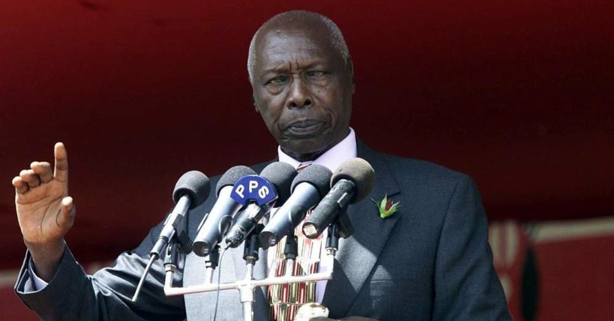 In this Saturday, June 29, 2002 file photo, Kenyan President Daniel Arap Moi addresses a crowd of supporters, during a political rally by the ruling KANU party in the capital Nairobi, Kenya. (AP File Photo)
