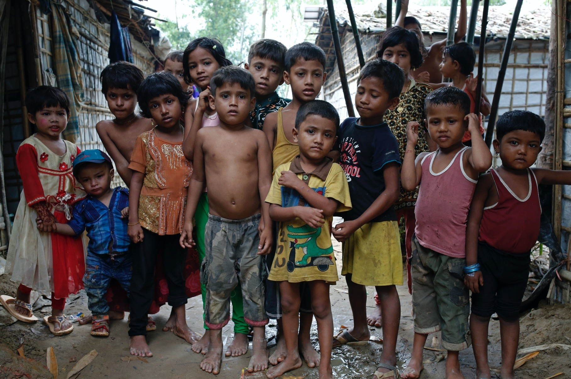 A group of Rohingya refugee children stand at a makeshift camp, Coxu2019s Bazar, Aug. 24.