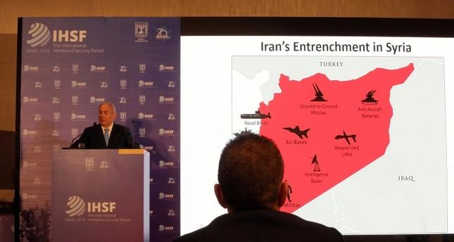 Israeli Prime Minister Benjamin Netanyahu speaks during a presentation to the International Homeland Security Forum conference in Jerusalem, June 14, 2018. (Reuters Photo)