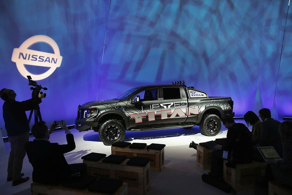 Nissan shows off a custom Titan XD at the Chicago Auto Show on February 8, 2018.