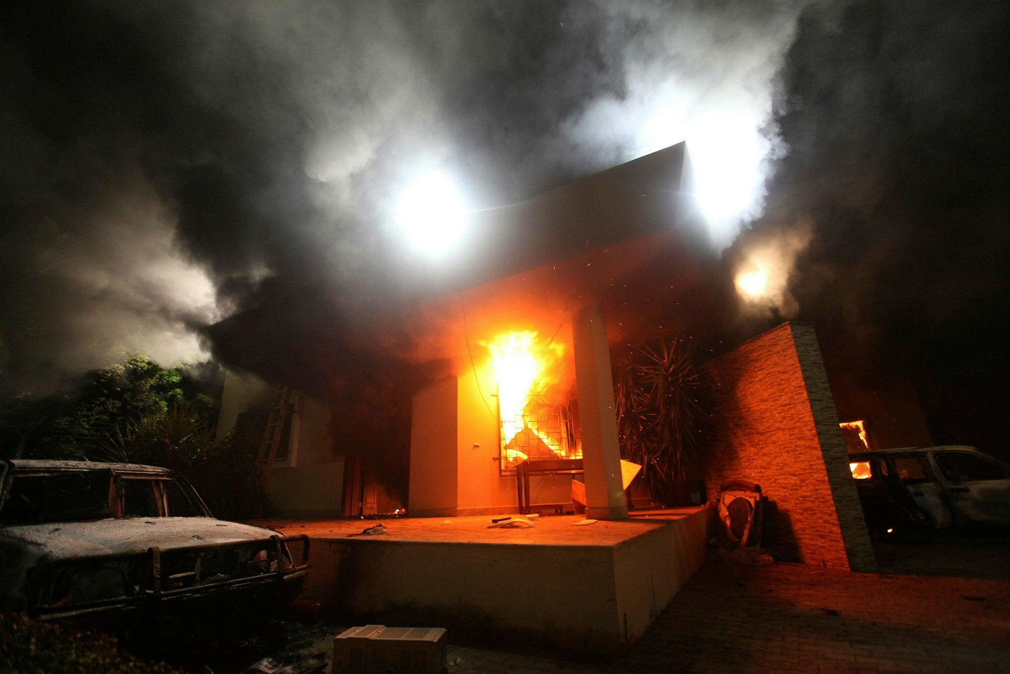 The U.S. Consulate in Benghazi is seen in flames during a protest by an armed group said to have been protesting a film being produced in the United States September 11, 2012. (Reuters Photo)