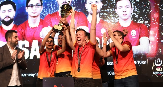 Members of Galatasaray Esports celebrate their victory after beating their rival Gamers of Future 3-1 to win the Turkish Cup, in the Nonstop Zula Esports Center on İstiklal Avenue, Taksim, Istanbul, Jan. 27, 2019.