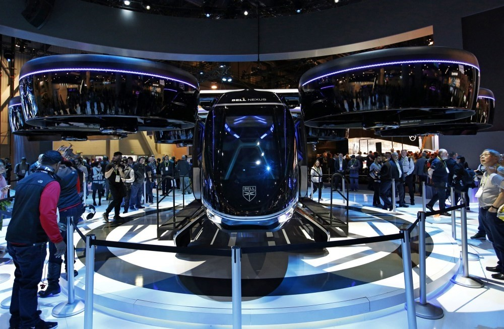 The Bell Nexus, next  generation flying car, debuted  at the Consumer Electronics  Show (CES), Las Vegas.