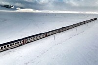 Drone snaps Eastern Express' snow-blanketed route