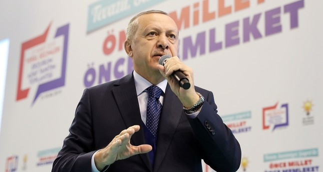 President Recep Tayyip Erdoğan speaks at AK Party's municipal candidate presentation program in Erzurum, Jan. 25, 2019.