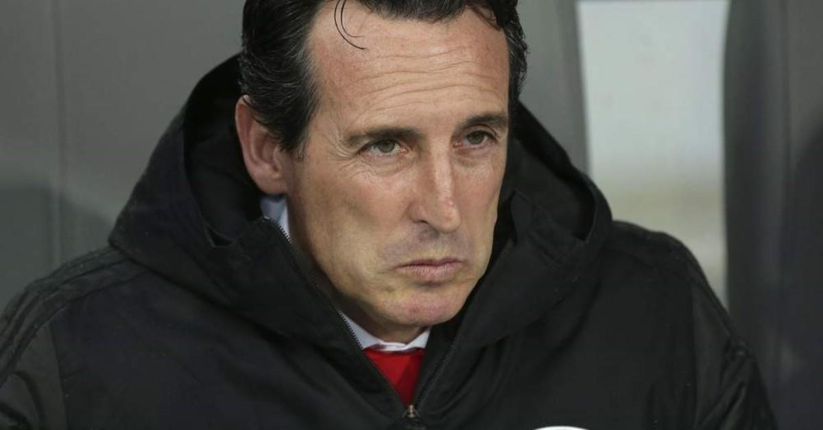 Emery watches the Europa League match against Vitoria in Guimaraes, Nov. 6, 2019. (AP Photo)