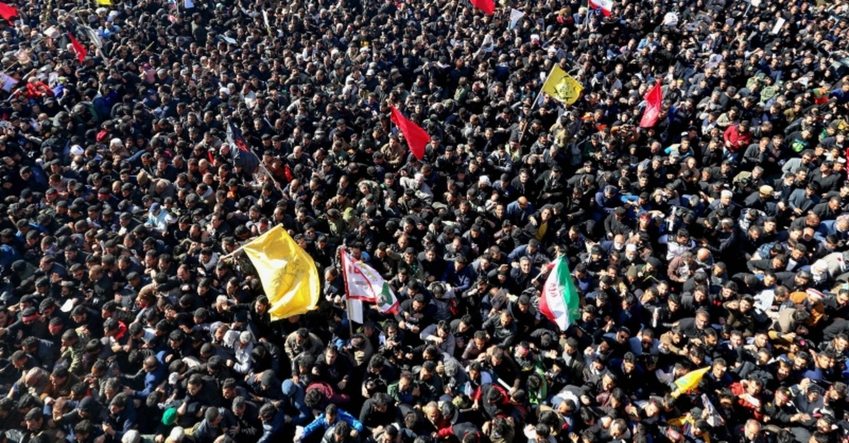 Iranian mourners gather during the final stage of funeral processions for slain top general Qasem Soleimani, in his hometown Kerman on January 7, 2020. (AFP Photo)