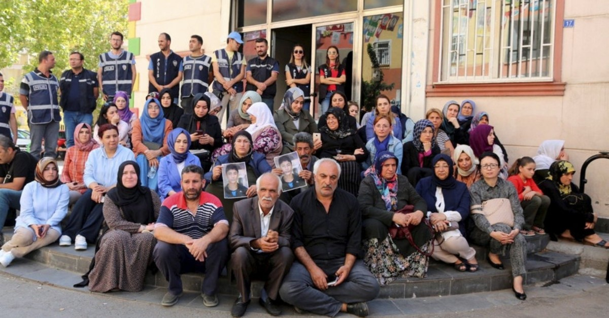 Kurdish families stage a sit-in protest in front of HDP headquarters, demanding their children back from the PKK, Sept. 9, 2019.