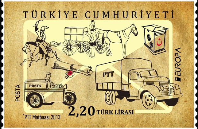 A Turkish postal stamp depicting some of the vehicles used by the Turkish Post since its establishment.