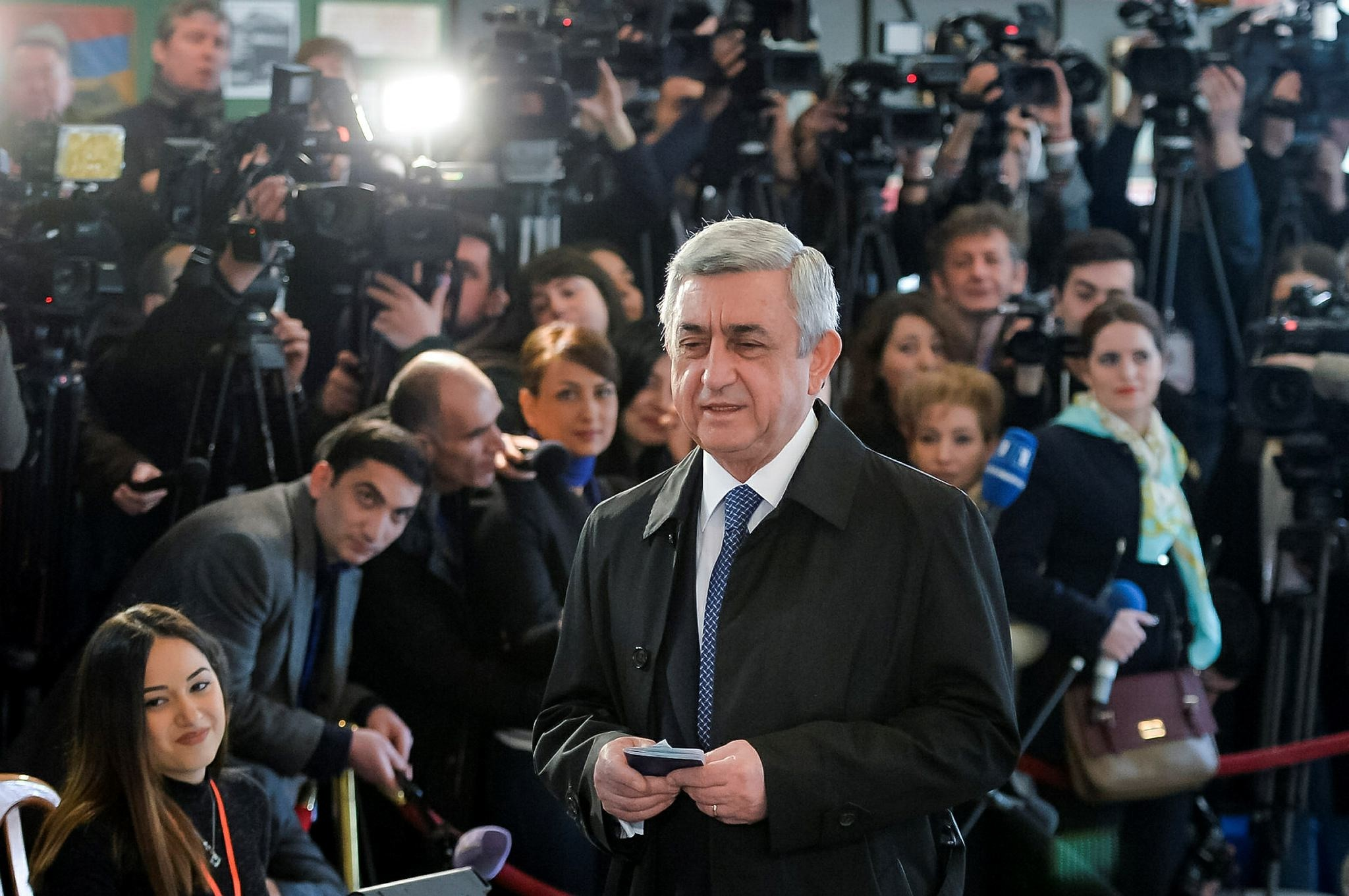 Armenia's President Serzh Sargsyan arrives at a polling station during a parliamentary election in Yerevan, Armenia. (AP Photo)