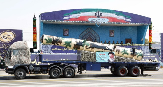 An Iranian Russian-made s-300 missile is displayed during the annual military parade marking the anniversary of the outbreak of its devastating 1980-1988 war with Saddam Hussein's Iraq. (AFP Photo)