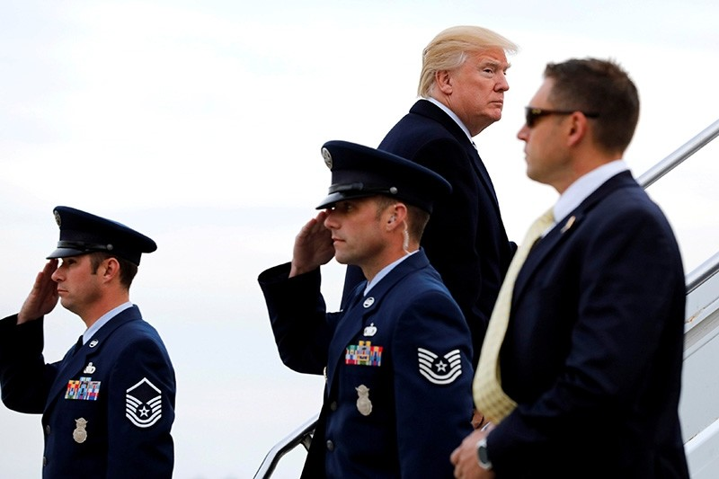 U.S. President Donald Trump boards Air Force One at John F. Kennedy International Airport in New York, before his departure back to Washington, U.S., Dec. 2, 2017. (Reuters Photo)