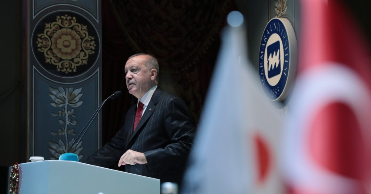 President Recep Tayyip Erdou011fan speaks at a finance conference, Istanbul, Sept. 9, 2019.