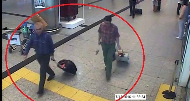 Adil Öksüz and Kemal Batmaz seen in footage captured by security cameras at Istanbul Atatürk Airport on July 13, 2016