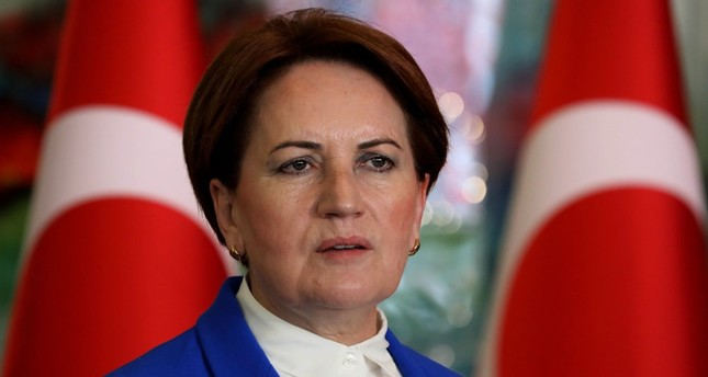 Good Party chair Meral Akşener delivers a speech at CHP headquarters in Ankara, on June 4.