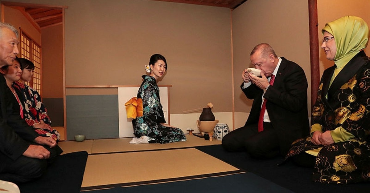 President Recep Tayyip Erdou011fan and first lady Emine Erdou011fan visited Mukogawa Women's University in Japan and attended a tea ceremony, June 27, 2019.