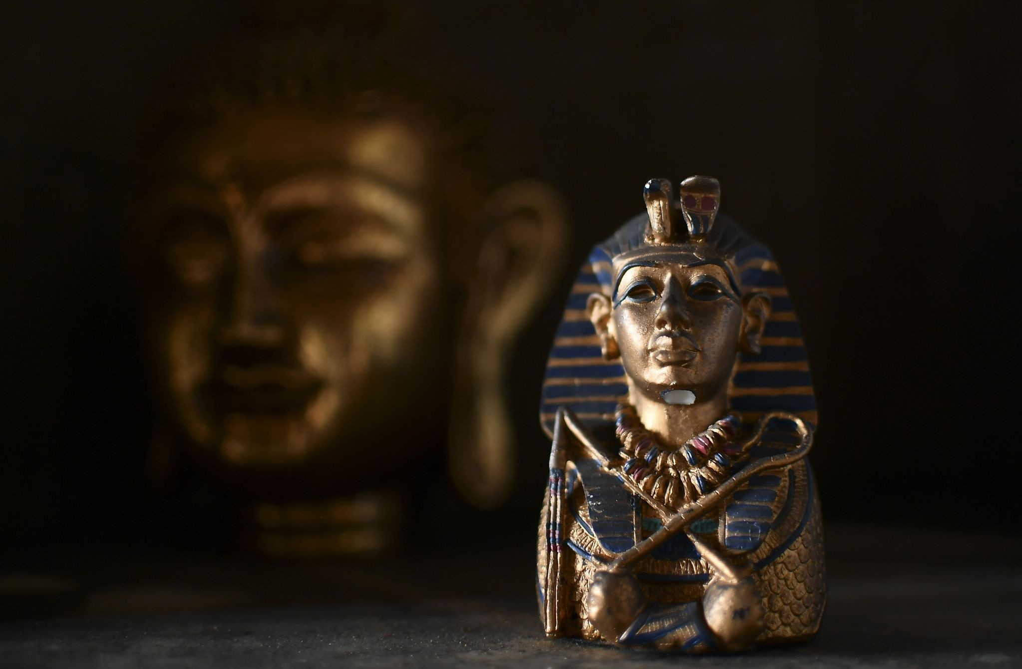 A photo taken on June 24, 2017 shows a small a sculpture of Egyptian pharaoh Tutankhamun at the ,Universal Temple, in Kazan, Russia. (AFP Photo)