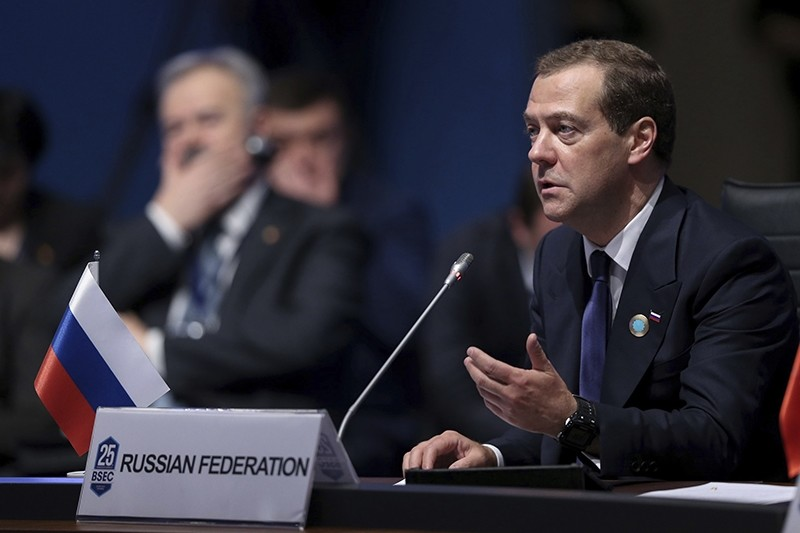 Turkey Black Sea Summitt  Russia's Prime Minister Dmitry Medvedev addresses the 25th Anniversary Summit of the Organization of the Black Sea Economic Cooperation (BSEC) in Istanbul, Monday, May 22, 2017. (AP Photo)