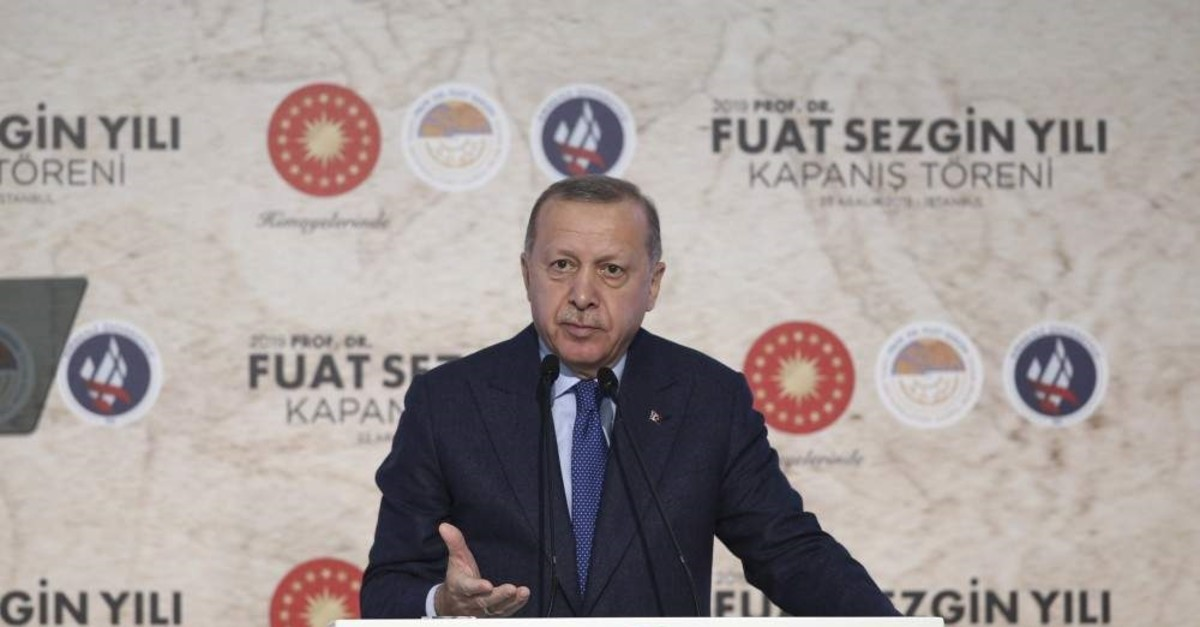 President Recep Tayyip Erdo?an speaks at the closing ceremony of Professor Fuat Sezgin Year at the Istanbul Airport, Istanbul, Dec. 23, 2019. (AA Photo)