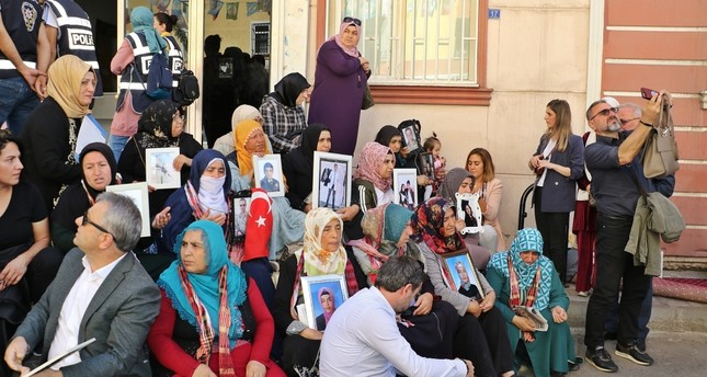 A sit-in protest launched in front of the Peoples' Democratic Party's (HDP) Diyarbakır provincial headquarters by mothers whose children were kidnapped by the terrorist group has been going on since the first week of September, Sept. 24, 2019.