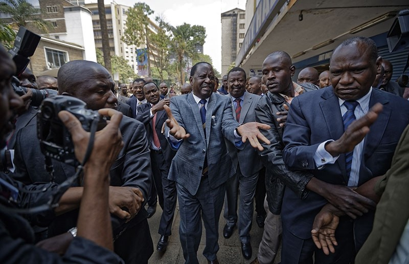 In this Friday, Sept. 1, 2017 file photo, opposition leader Raila Odinga arrives at the Supreme Court in downtown Nairobi, Kenya. (AP Photo)