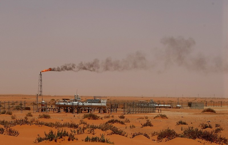 This June 23, 2008 photo shows a flame from a Saudi Aramco oil installation known as ,Pump 3, in the desert near the oil-rich area of Khouris, 160 km east of Riyadh, Saudi Arabia. (AFP Photo)
