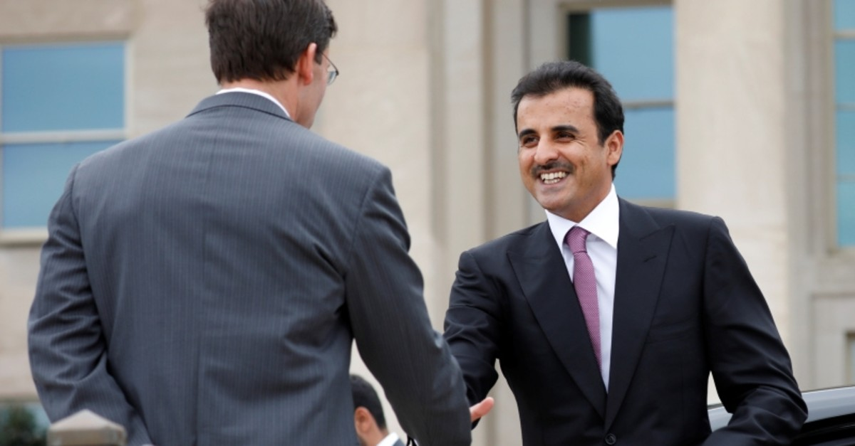 Acting U.S. Defense Secretary Mark Esper (L) greets Qatar's Emir Sheikh Tamim bin Hamad Al-Thani at Pentagon in Arlington, Virginia, U.S., July 8, 2019. (Reuters Photo)
