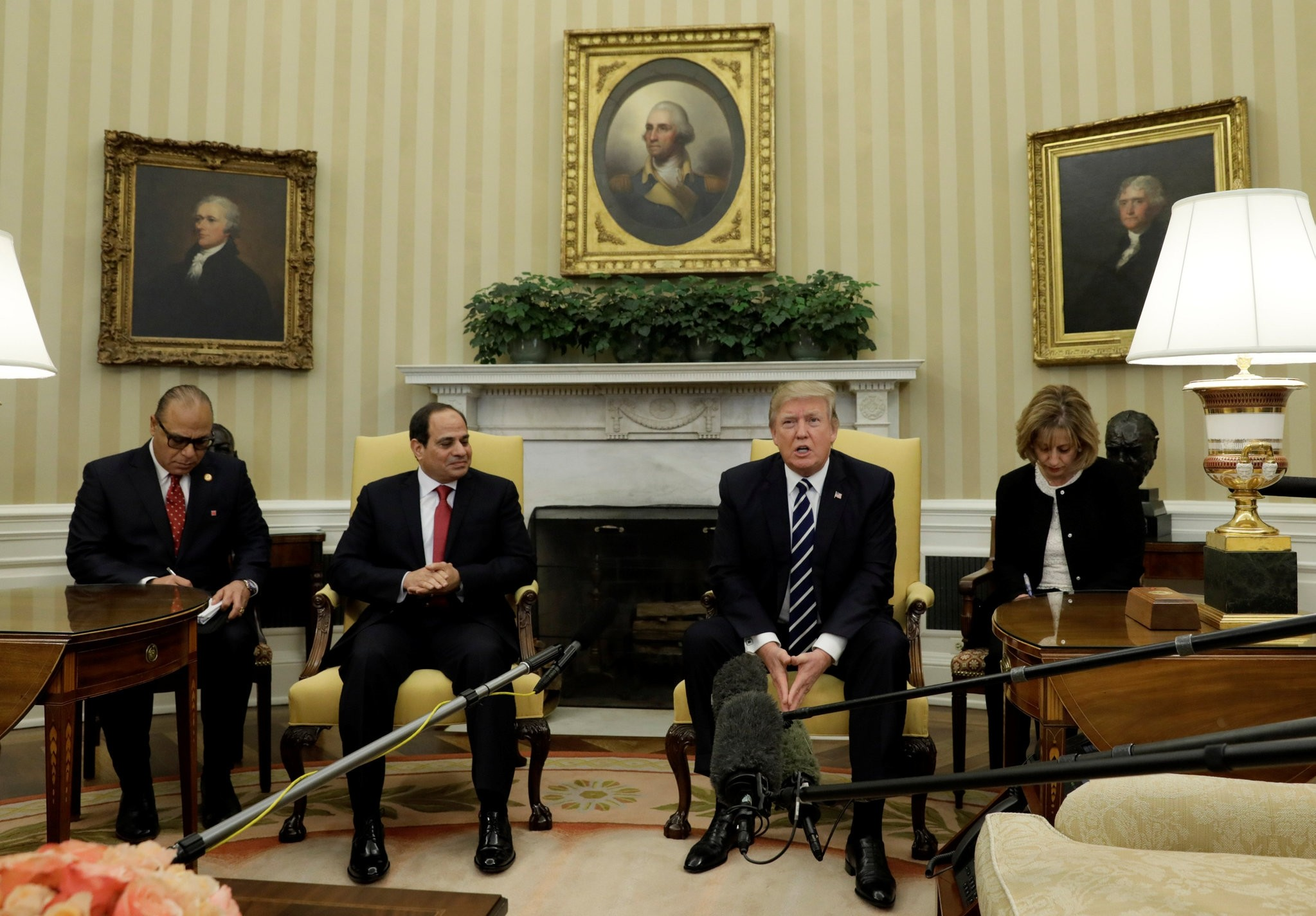 U.S. President Donald Trump speaks during his meeting with Egyptian President Al Sisi in the Oval Office of the White House. (Reuters Photo)