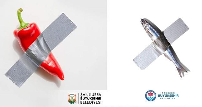 Screenshots from social media accounts of Şanlıurfa and Trabzon municipalities.