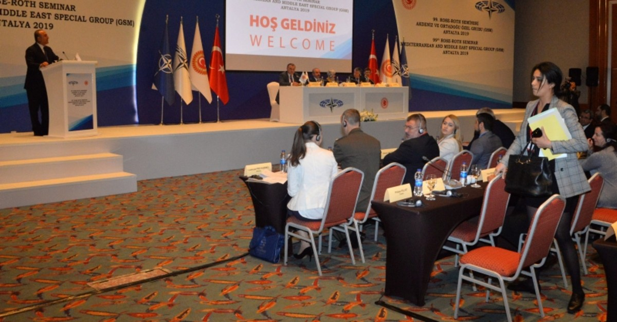 French deputy Sonia Krimi leaves NATO Parliamentary Assemblyu2019s 99th Rose-Roth Seminar as Turkish Foreign Minister Mevlu00fct u00c7avuu015fou011flu is giving a speech, in Antalya, southern Turkey, April 12, 2019. (DHA Photo)