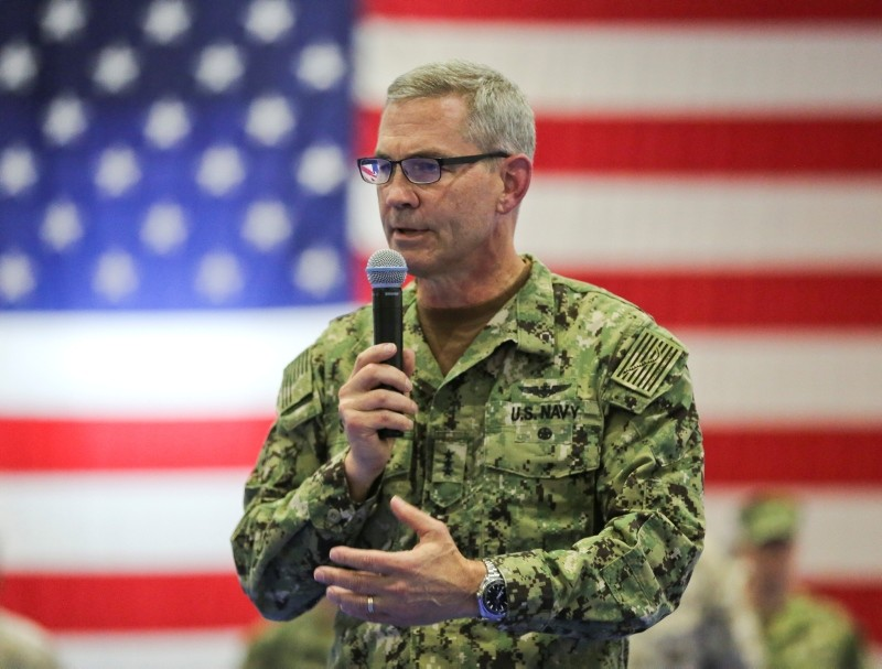A handout photo made available by the US Marine Corps shows US Navy Vice Adm. Scott A. Stearney delivers remarks during a change of command ceremony in Bahrain, July 03, 2018. (EPA Photo)