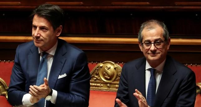 Italian Prime Minister Giuseppe Conte and Italian Economy Minister Giovanni Tria attend a debate at the Senate in Rome, Italy, Dec. 19, 2018.