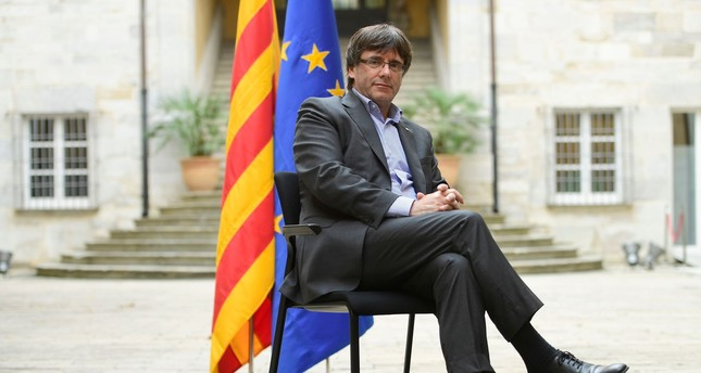 Catalan president Carles Puigdemont poses before an AFP interview in Girona on September 30, 2017. (AFP PHOTO)