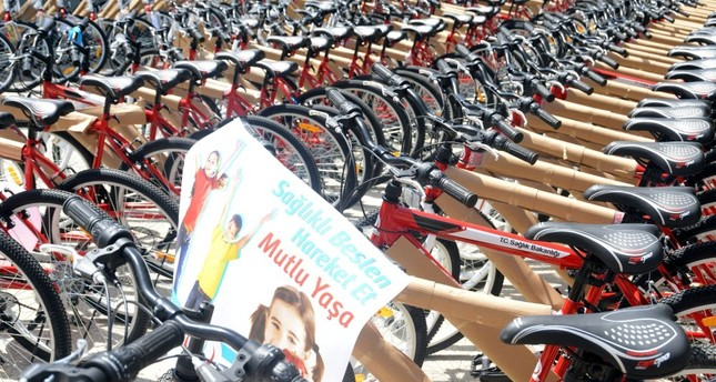 Bicycles allocated for delivery to students in the city of Tokat as part of Health Ministry's project to promote more physical activity to fight obesity.