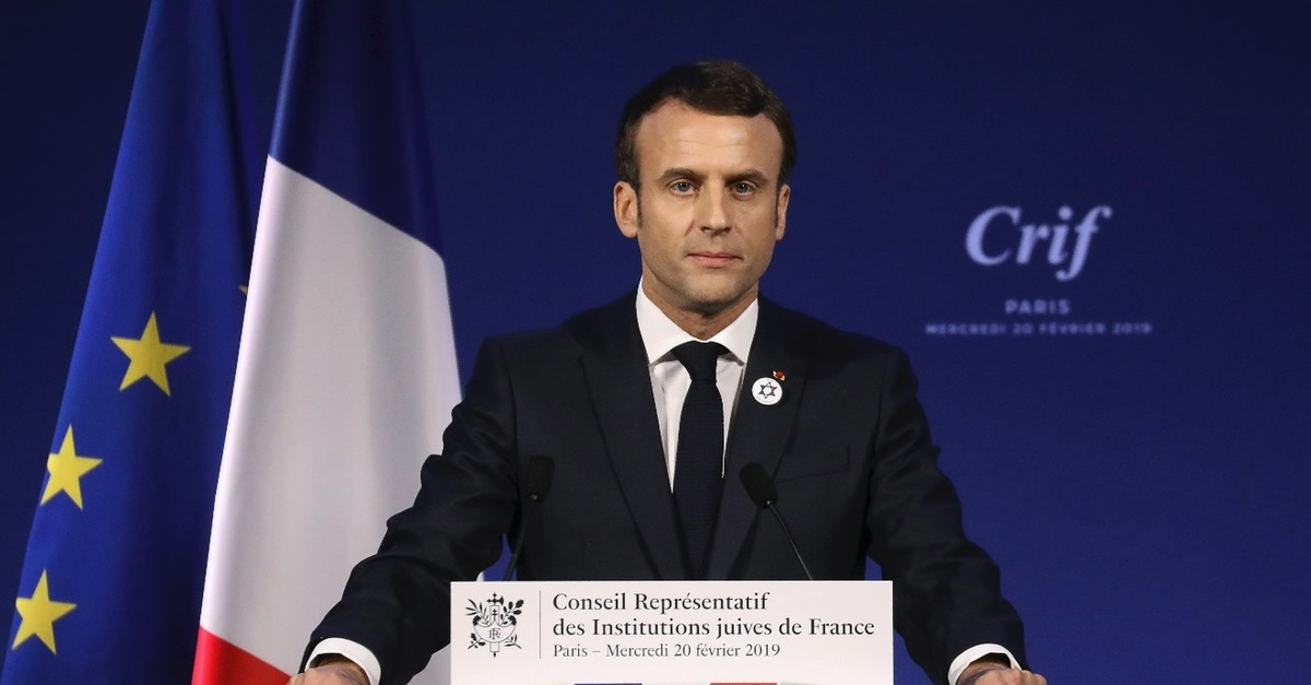 Franceu2019s President Emmanuel Macron gives a speech, Paris, Feb. 20, 2019.