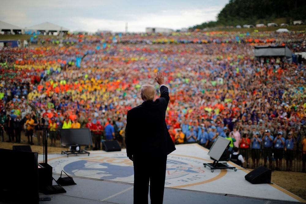 President Trump waves after delivering remarks at the 2017 National Scout Jamboree in Summit Bechtel National Scout Reserve, West Virginia, July 24.