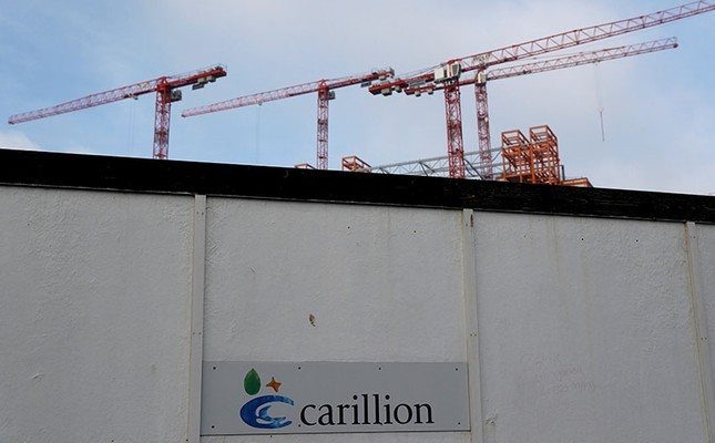 This file photo shows cranes rising above Carillion's Midland Metropolitan Hospital construction site in Smethwick, Britain, Jan. 11, 2018. (Reuters Photo)