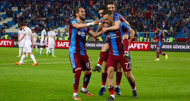 Trabzonspor's Filip Novak celebrates the team's fourth goal with his teammates in 31th week match against Kayserispor at Şenol Güneş Stadium, in Trabzon, northern Turkey, May 6, 2018. AA Photo