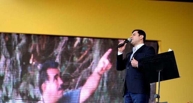 Selahattin Demirtaş speaks during a pro-PKK rally.