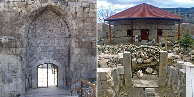 The Crown Gate (Tau00e7 Kapu0131) before (L) and after (R) the restoration.