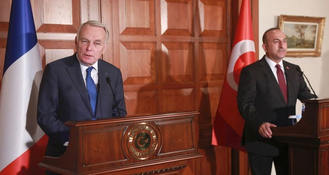France's Foreign Minister Jean-Marc Ayrault (L), speaks during a joint news conference with Turkey's Foreign Minister Mevlüt Çavuşoğlu. (AFP Photo)