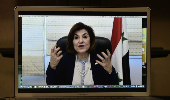 Bouthaina Shaaban, political and media adviser to Bashar Assad, speaks via Skype during a press conference organized by The Global Alliance for Terminating ISIS/Al-Qaida at the National Press Club in Washington, June 2, 2016. AFP Photo
