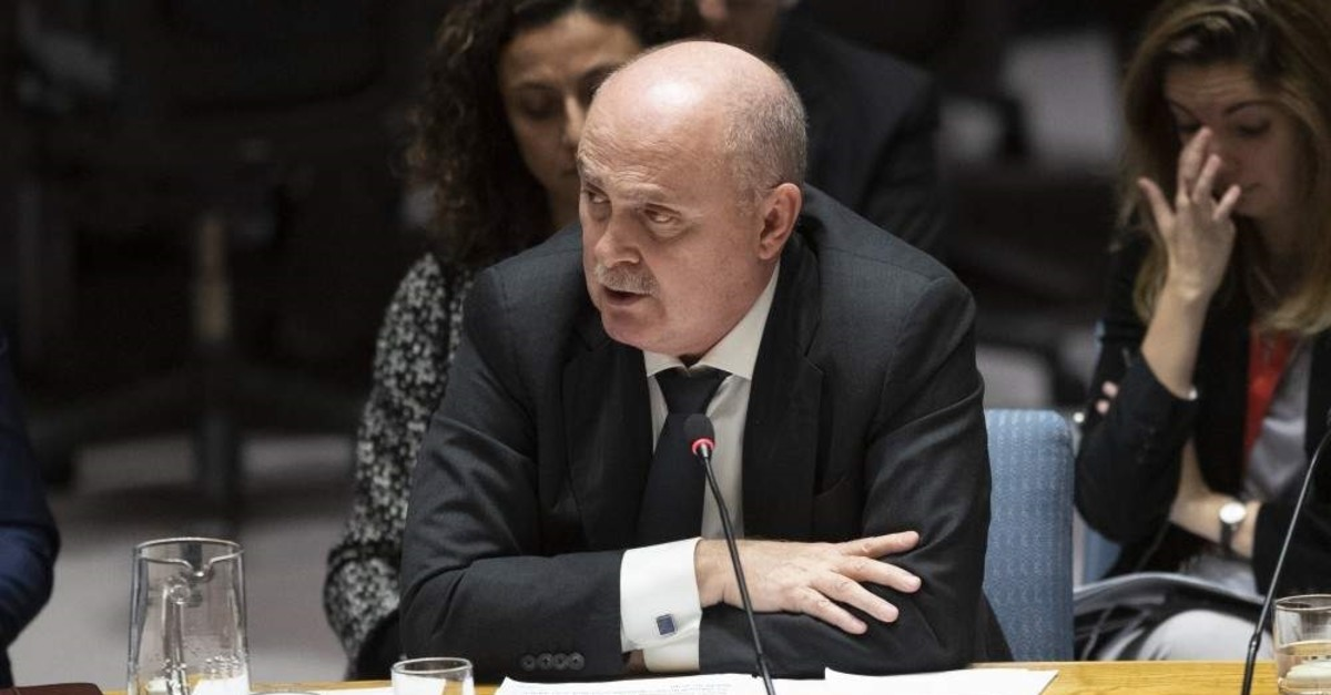 Turkish Ambassador to the United Nations Feridun Sinirlio?lu speaks during a Security Council meeting on the situation in Syria, Thursday, Oct. 24, 2019, at UN headquarters. (AP Photo)