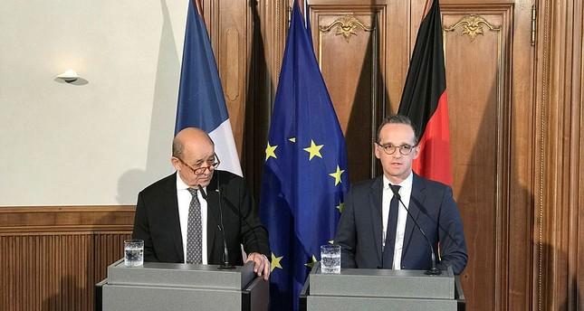وزير الخارجية الألماني هايكو ماس يمين، وزير الخارجية الفرنسي جاف إيف لودريان يسار - الفرنسية