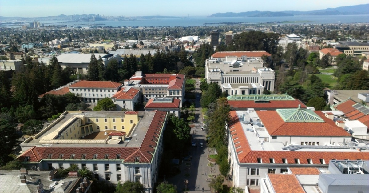 UC Berkeley Campus - view from Sather Tower of Campanile Way, Wheeler Hall, Doe Library