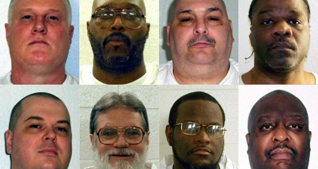 This combination of file shows death row inmates (L-R, top) Don William Davis, Stacey Eugene Johnson, Jack Harold Jones and Ledell Lee; (L-R, bottom) Jason F. McGehee, Bruce Earl Ward, Kenneth D. Williams and Marcel W. Williams. (AFP Photo)